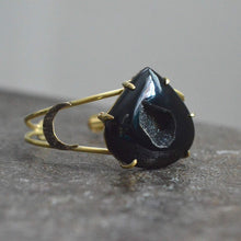 Load image into Gallery viewer, Brass & Druzy Onyx Cuff Bracelet