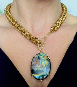 Labradorite and Brass Chainmaille Necklace