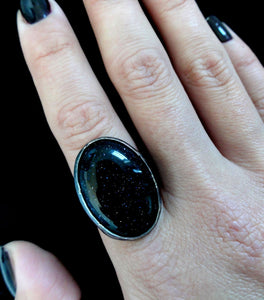 Blue Goldstone & Sterling Silver Ring