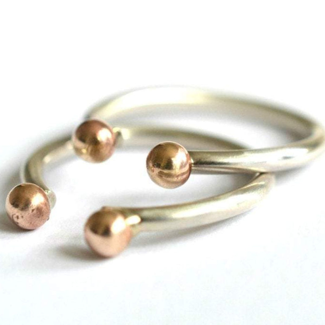 Sterling Silver & Brass Balls Ring