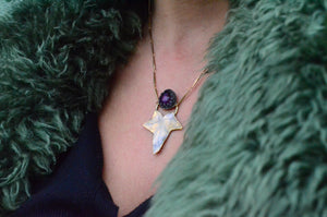 Eden Amethyst Ivy - Amethyst and Brass Ivy Leaf Necklace