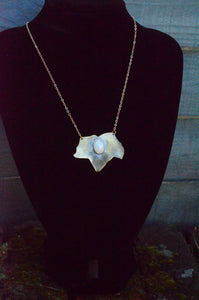 Diana Moonstone Ivy - Brass and Moonstone Ivy Leaf Necklace