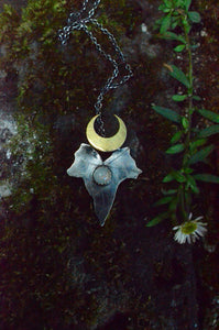 Luna Moonstone Ivy - Sterling Silver & Moonstone Ivy Leaf Necklace