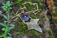 Load image into Gallery viewer, Eden Amethyst Ivy - Amethyst and Brass Ivy Leaf Necklace