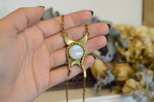 Load image into Gallery viewer, Serpent and Moonstone Crescent Necklace