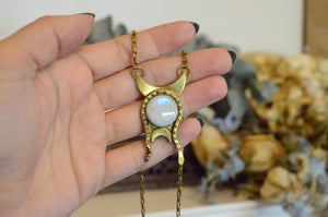 Serpent and Moonstone Crescent Necklace