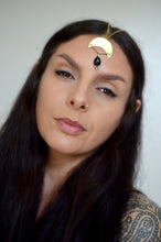 Load image into Gallery viewer, Crescent Moon and Black Onyx Goddess Headpiece