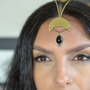 Crescent Moon and Black Onyx Goddess Headpiece