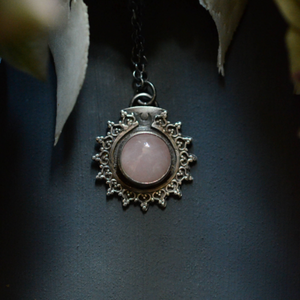 Rose Quartz Sunburst Pendant