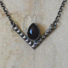 Load image into Gallery viewer, Sterling Silver & Onyx Chevron Necklace