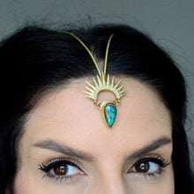 Load image into Gallery viewer, Turquoise & Brass Sunburst Goddess Headpiece