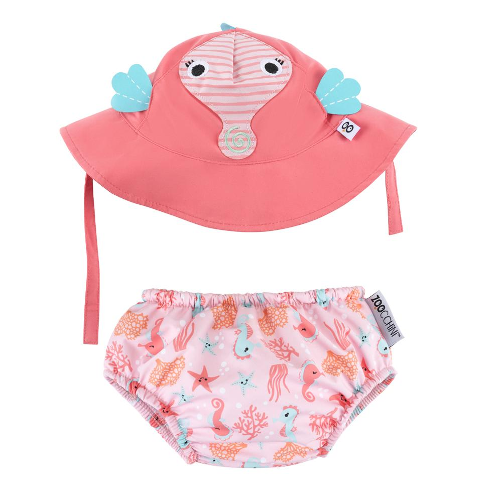 ZOOCCHINI UPF50+ BABY SWIM DIAPER & SUN HAT SET - SALLY THE SEAHORSE - The Mango Tree