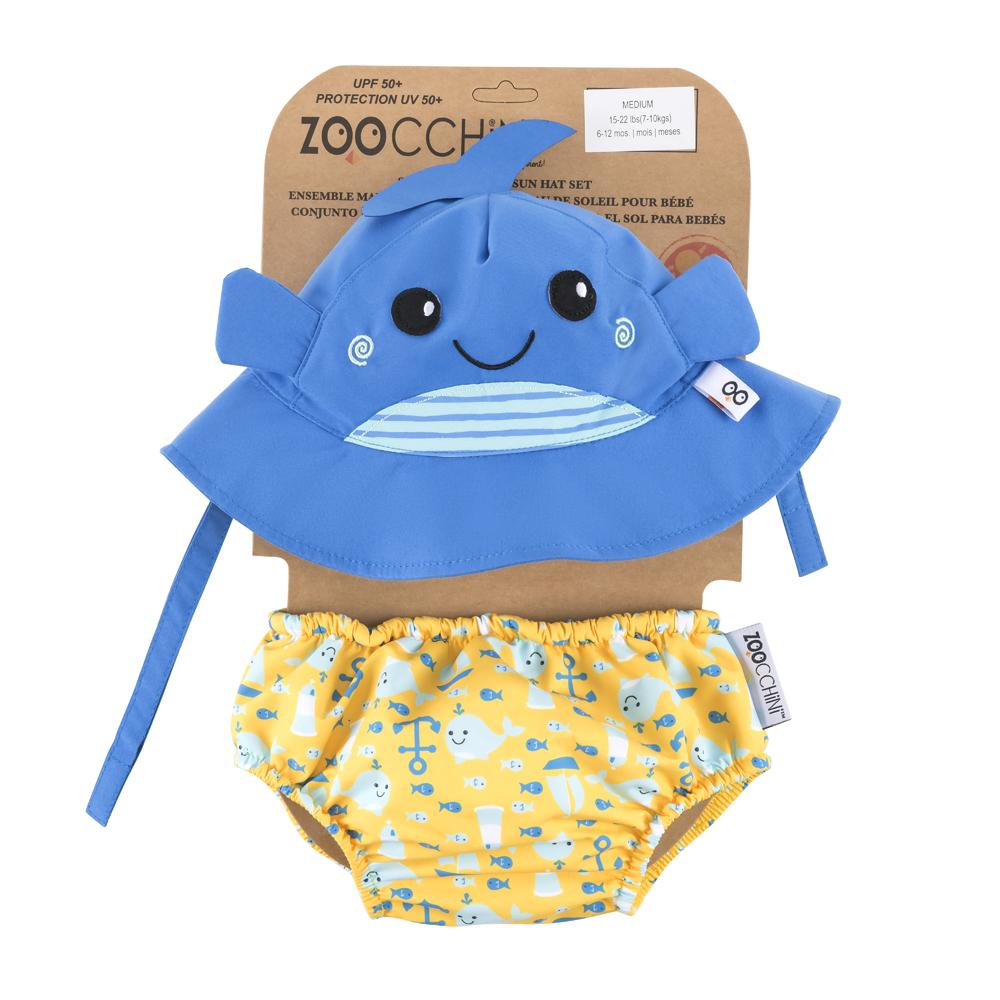 ZOOCCHINI UPF50+ BABY SWIM DIAPER & SUN HAT SET - WILLY THE WHALE - The Mango Tree