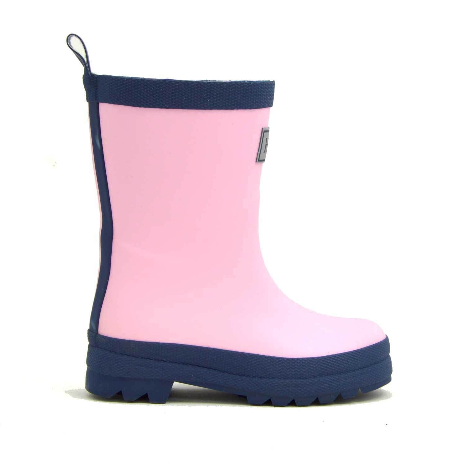 Pink and navy hatley rain boots - The Mango Tree