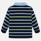 Mayoral  dark blue long sleeve stripe polo - The Mango Tree