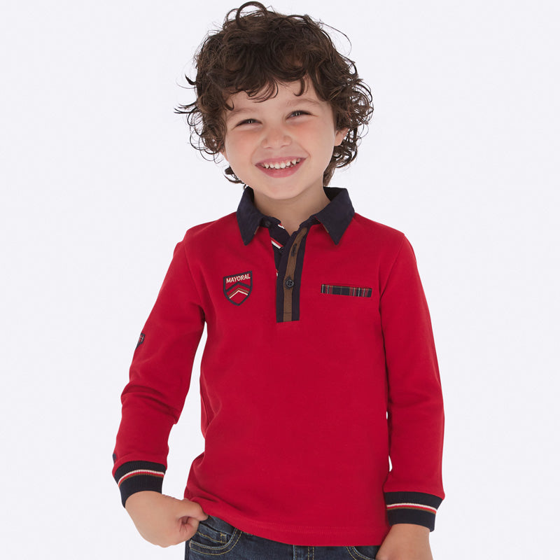 Mayoral red long sleeve polo - The Mango Tree