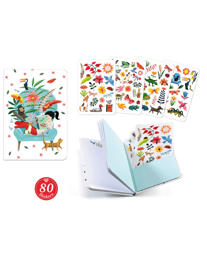 Sarah Notebook with 79 Stickers by Djeco - The Mango Tree