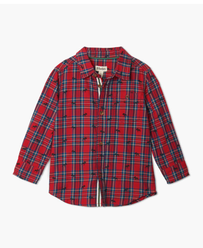 Hatley Plaid moose Button Shirt - The Mango Tree