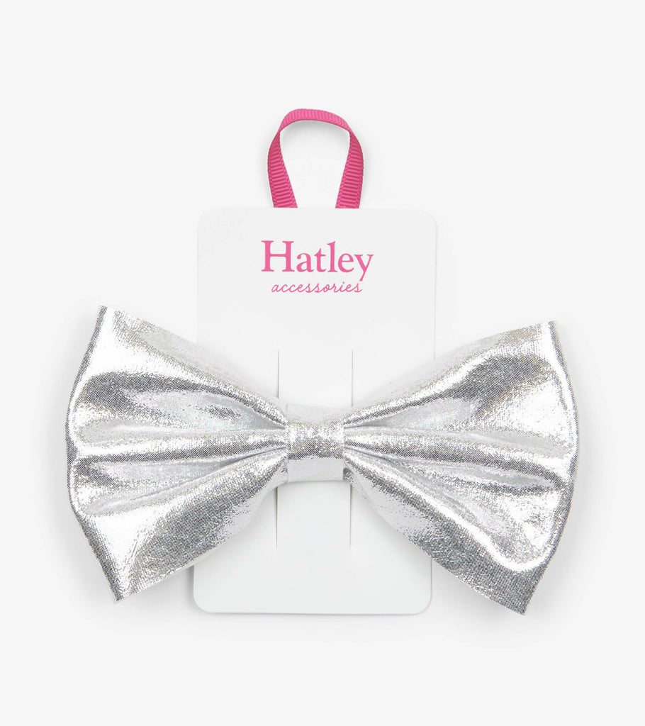 Hatley Silver shimmer bow Hair Clip - The Mango Tree