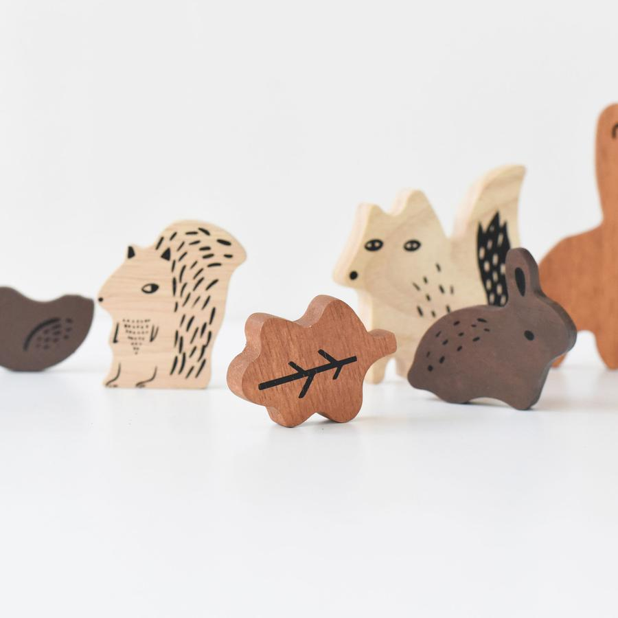 Wee Gallery Wooden Tray Puzzle-Wooden Animals - The Mango Tree