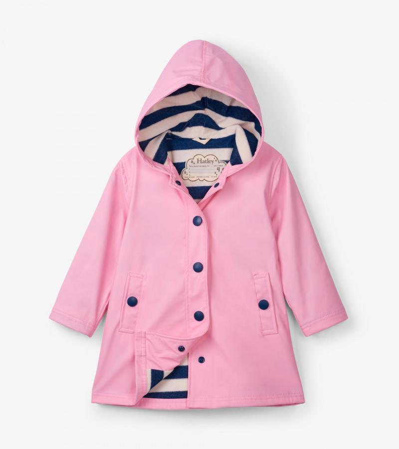 Hatley classic pink & navy splash jacket - The Mango Tree