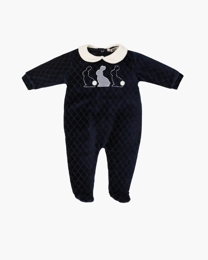 Everything Must Change Blue Velour Babygrow - The Mango Tree