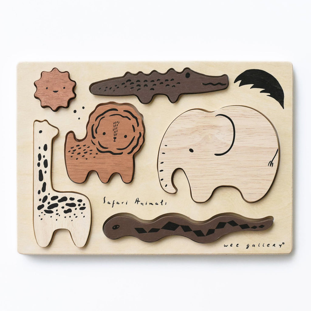 Wee Gallery Wooden Tray Puzzle-Safari - The Mango Tree