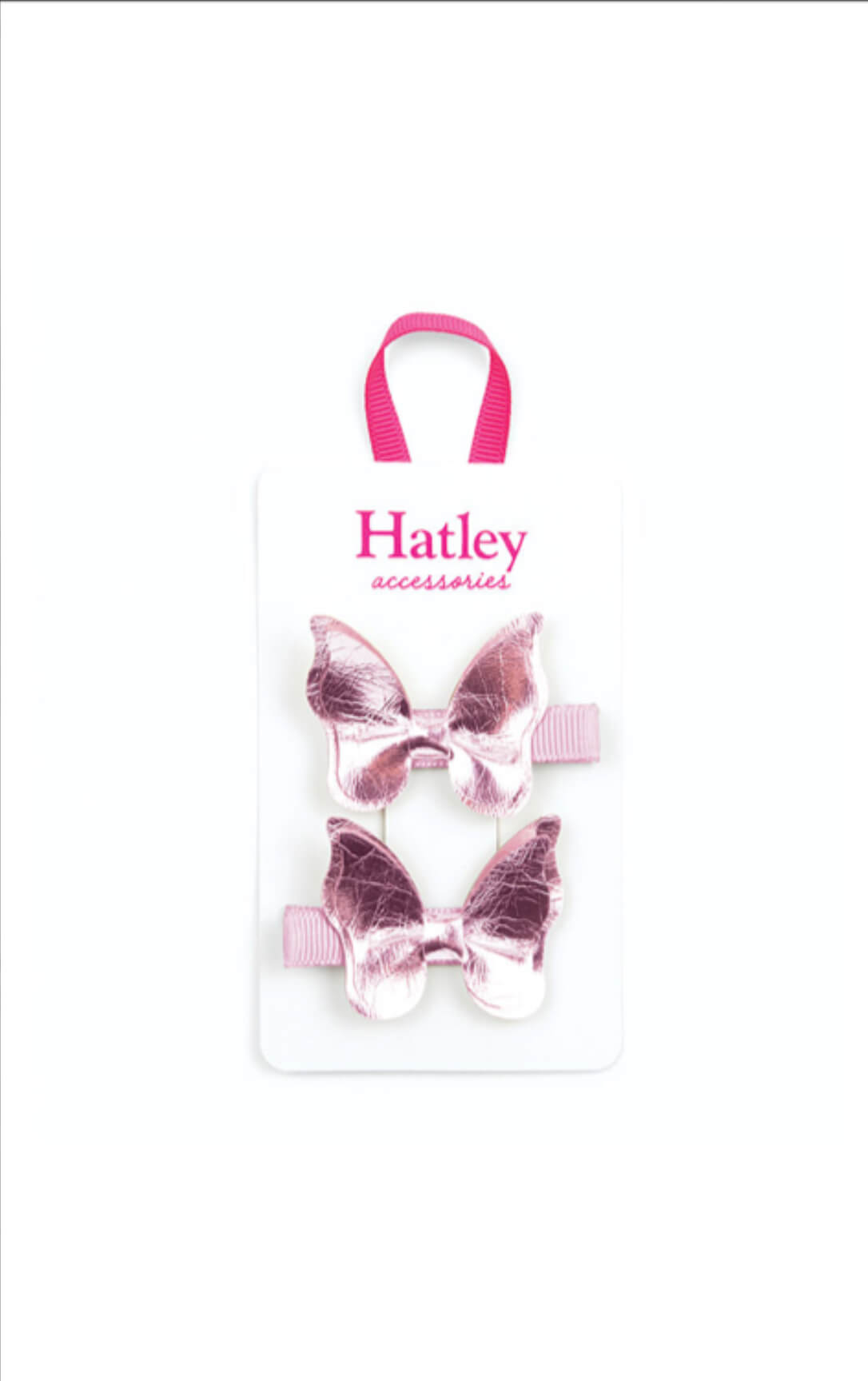 Hatley pink shimmer butterflies  hair clip - The Mango Tree