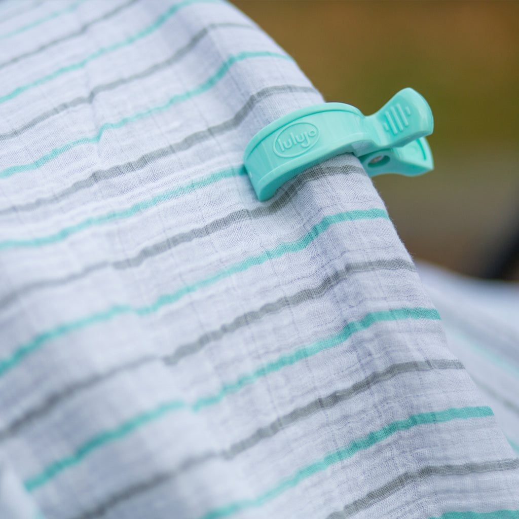 Stroller clips aqua - The Mango Tree