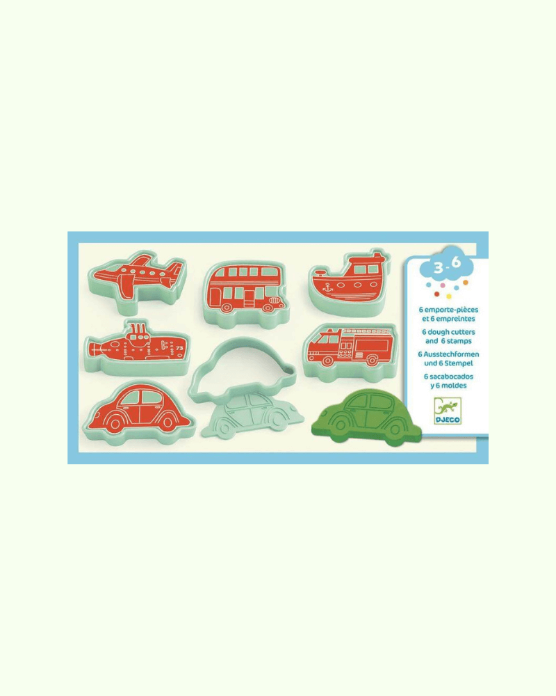 Djeco  Dough Cutters - 6 cars 6 Stamps - The Mango Tree