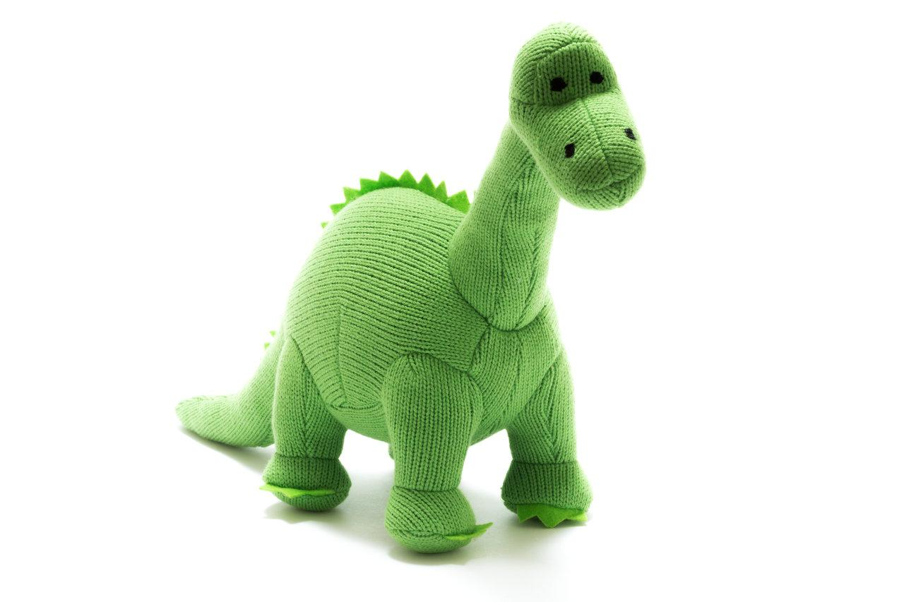 Best Years knitted diplodocus green rattle - The Mango Tree