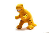 Best Years knitted T-Rex yellow rattle - The Mango Tree