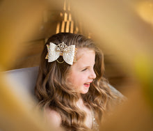 Load image into Gallery viewer, Ivory and Gold Princess Tiara Bow Hair Clip