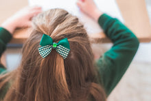 Load image into Gallery viewer, Back to school ribbon bow with jewel hair clip for girls