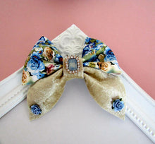 Load image into Gallery viewer, Beautiful large floral pinch bow hair clips