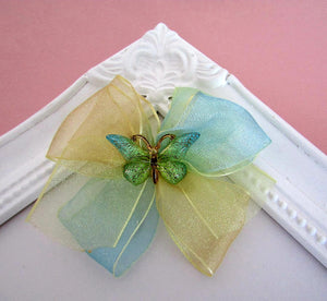 Pretty Yellow and Blue Ombre ribbon bow hair clip with butterfly