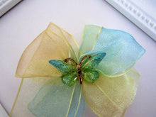 Load image into Gallery viewer, Pretty Yellow and Blue Ombre ribbon bow hair clip with butterfly