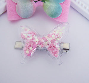 Butterfly bow and butterfly shaker hair clip set for girls
