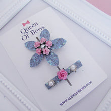 Load image into Gallery viewer, Beautiful flower and pearl hair clip set for girls