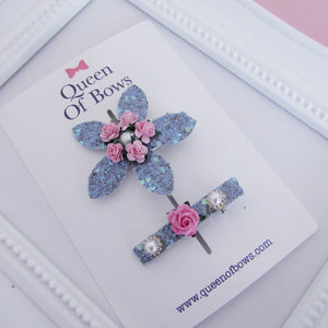 Beautiful flower and pearl hair clip set for girls