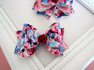 Beautiful blue and pink floral bow hair clip
