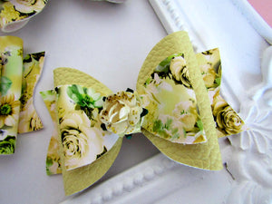 Beautiful yellow floral bow hair clip