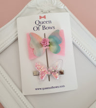 Load image into Gallery viewer, Butterfly bow and butterfly shaker hair clip set for girls