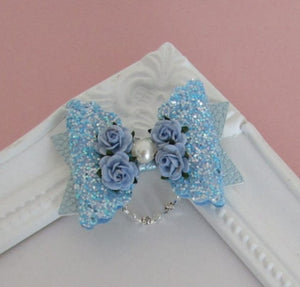 Beautiful scallop bow hair clips with diamante and pearl strand