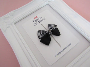 Back to school ribbon bow with jewel hair clip for girls