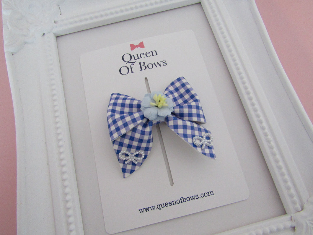 Back to school beautiful gingham pinch bow hair clips for girls