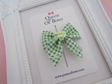 Load image into Gallery viewer, Back to school beautiful gingham pinch bow hair clips for girls