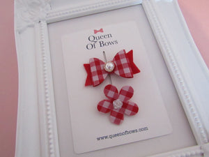 Back to school gingham bow and flower hair clip set for girls.