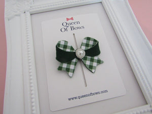 Back to school beautiful gingham unique bow hair clips for girls