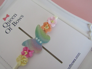 Butterfly and flower nylon headband for babies